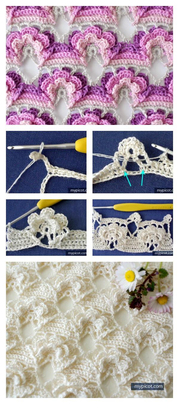Tığ 3D Çiçek Dikiş Ücretsiz Desen
