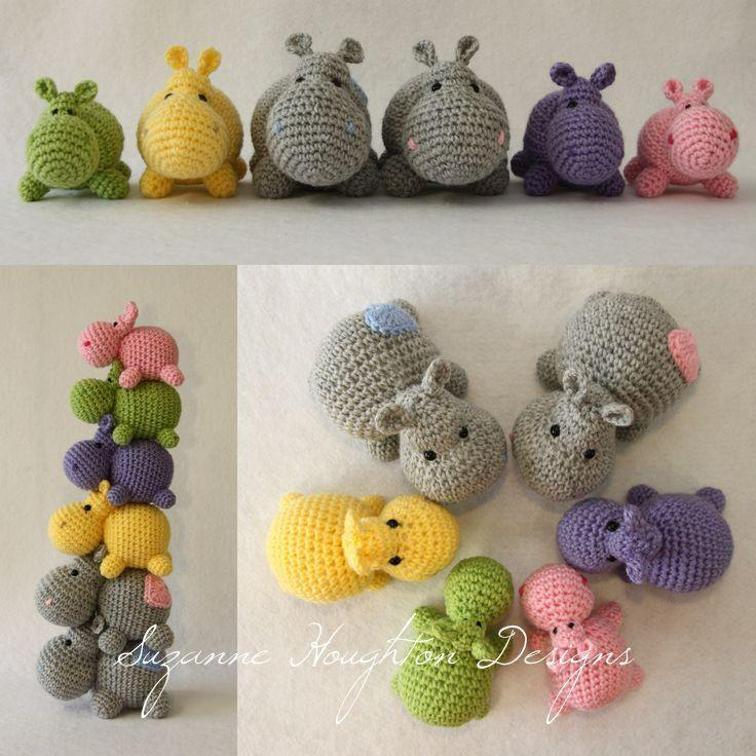 Free Crochet Hexagon Hippo Pattern : Cute Hippo Amigurumi Crochet Patterns