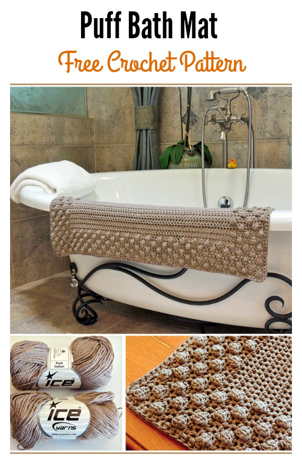 Crochet Puff Bath Mat Free Pattern