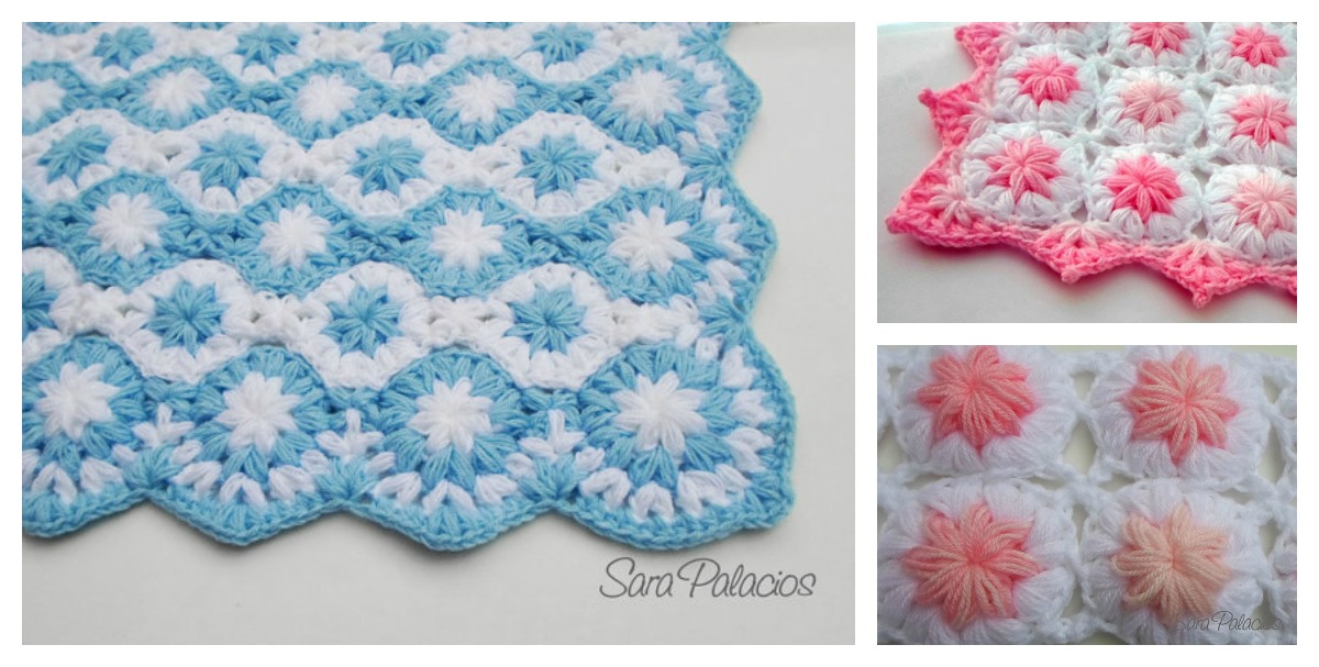 Crochet Flower Pattern Blanket : Crochet Puff Flower Blanket Pattern and Free Chart
