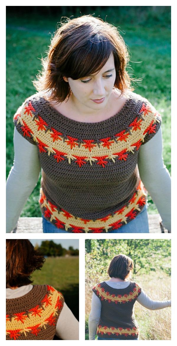 Crochet Spike Stitch Maple Falls Sweater Pattern Cool Creativities