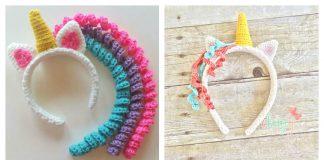 Crochet Unicorn Headband Free Pattern and Paid