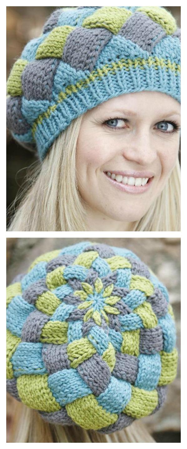 Entrelac Hat Knitting Pattern