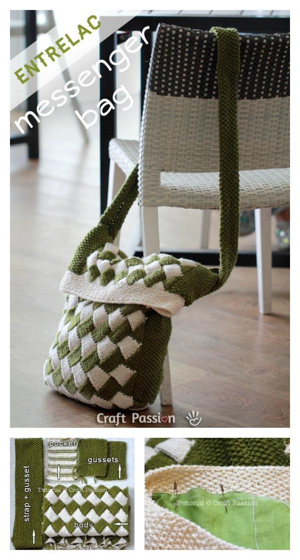 Free Entrelac Messenger Bag Knitting Pattern