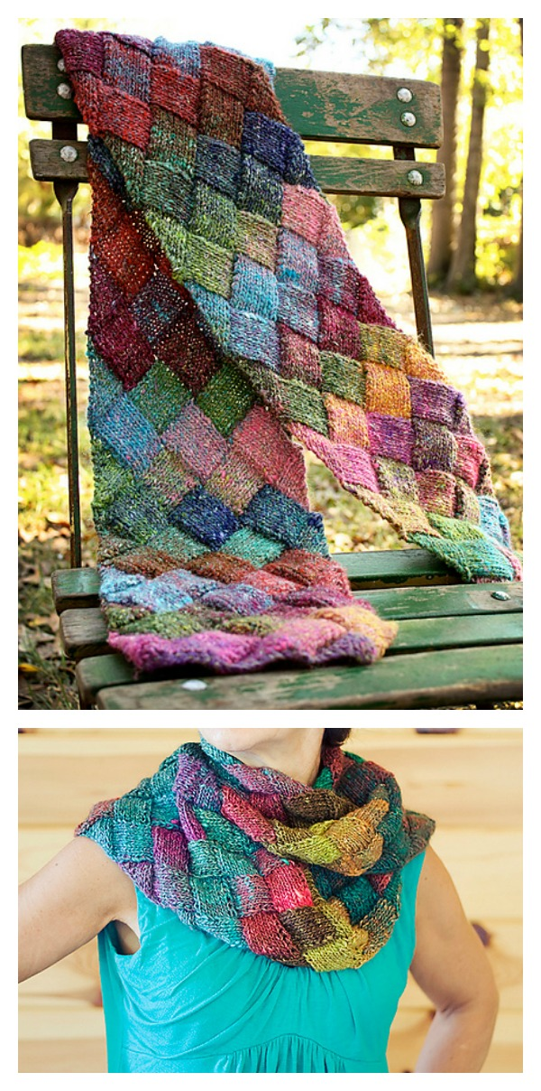 Free Entrelac Scarf Knitting Pattern
