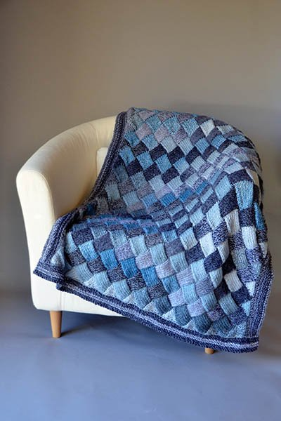 Free Entrelac Woven Sky Throw Knitting Pattern Cool