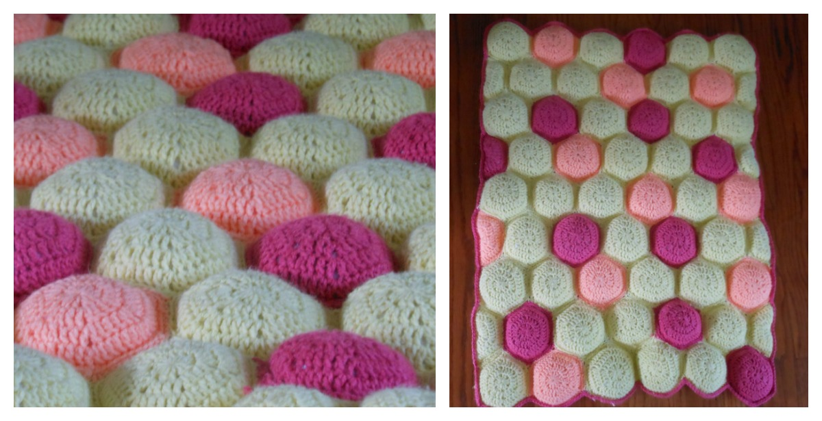 Hexi Puff Crochet Baby Quilt Free Pattern