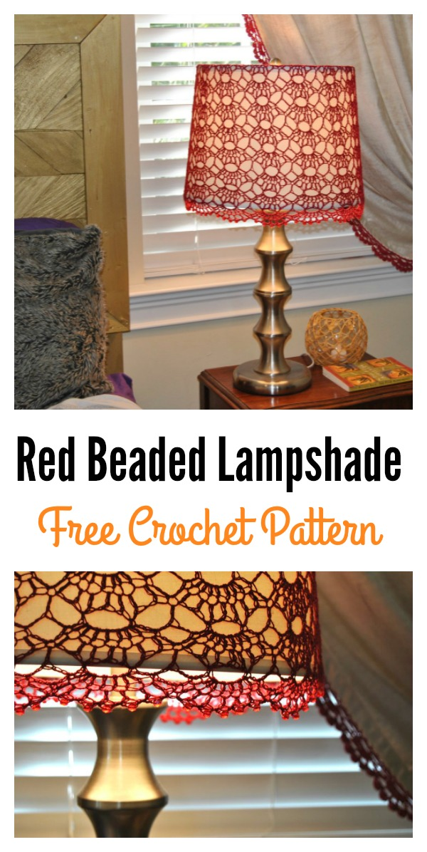 Red Beaded Crochet Lampshade FREE Pattern
