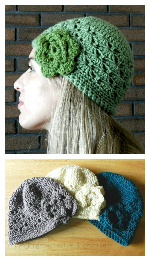 Shell Stitch Crochet Flower Hat Free Pattern Cool Creativities