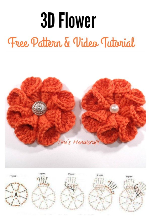 3D crochet Flower FREE Pattern and Video Tutorial