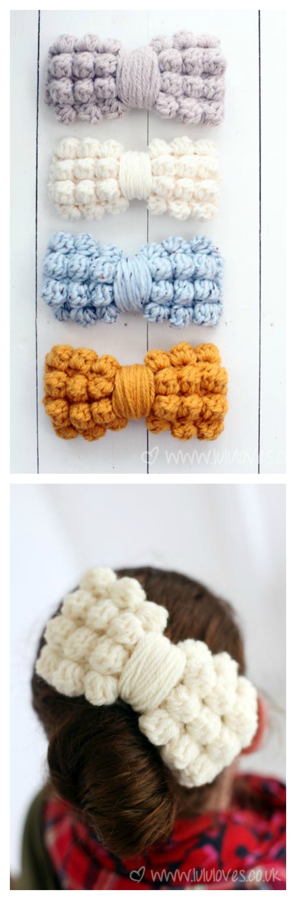 Chunky Bobble Bow Hair Clips Free Crochet Pattern