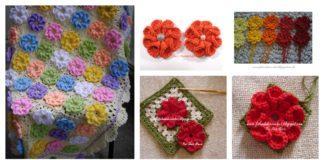 Crochet 3D Flower Granny Square Baby Blanket