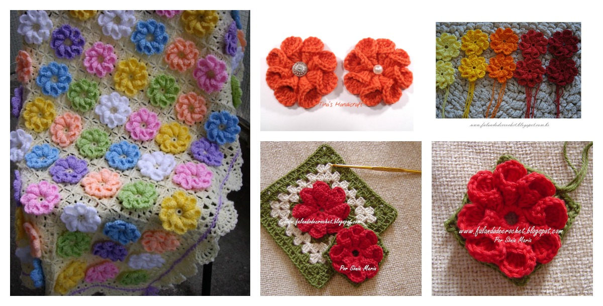 Crochet 3d Flower Baby Blanket Free Pattern : How to Crochet 3D Flower Granny Square Baby Blanket