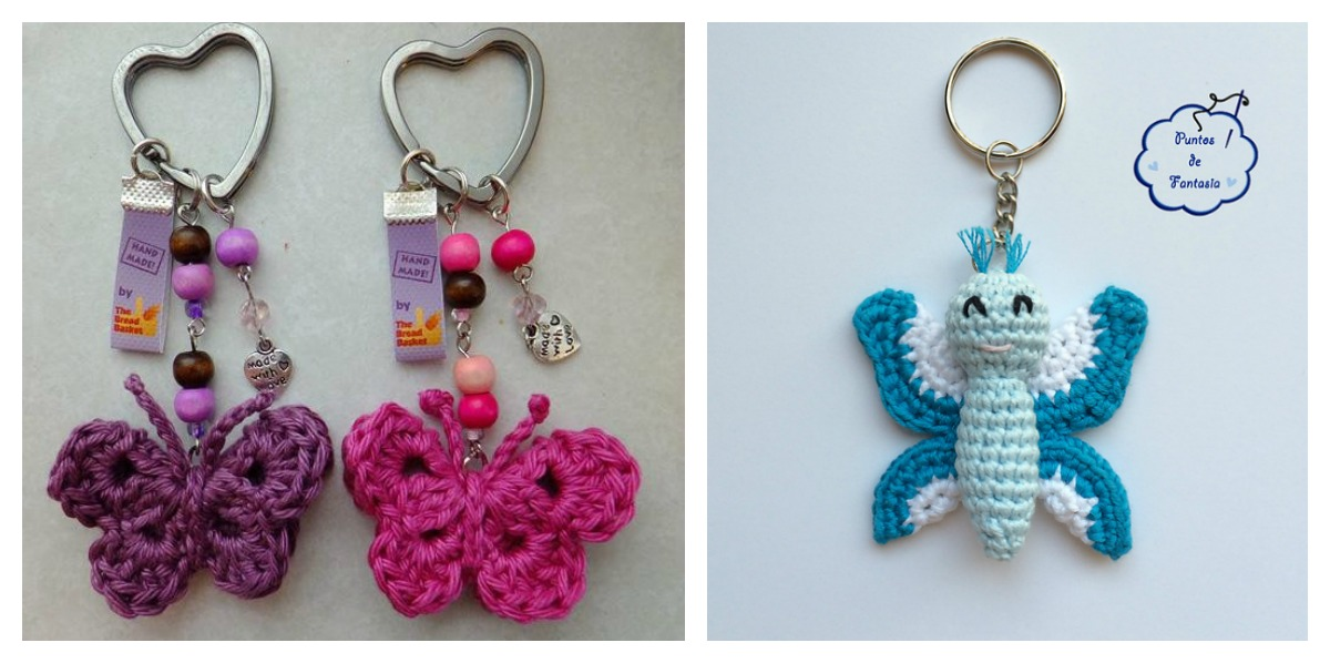 Crochet Purse Keychain Pattern : Crochet Butterfly Keychain Free Patterns