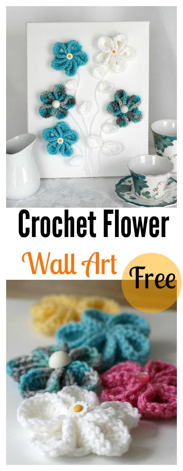 Crochet Flowers on Canvas 3D Wall Art Free Pattern