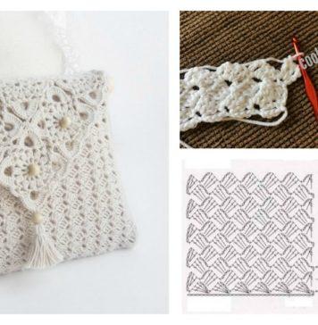 Pretty Crochet Handbag with Graphics