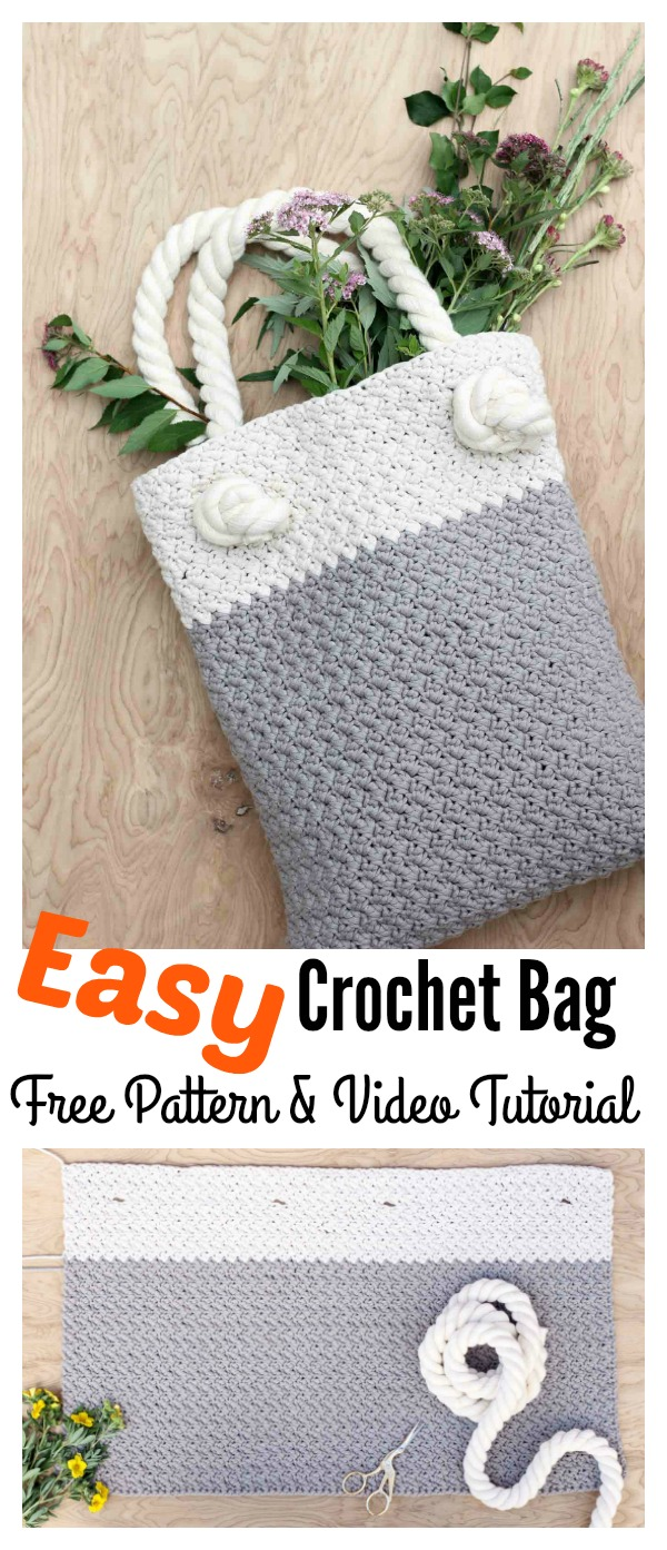 Beginners Crochet Bag Patterns : Free Crochet Tote Bag Pattern For Beginners - DIY CHICKS