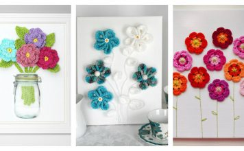 Free Flower 3D Wall Art Crochet Patterns