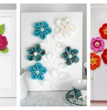 Free Flower 3D Wall Art Crochet Patterns