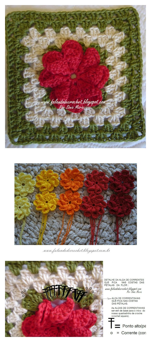 How to Crochet 3D Flower Granny Square