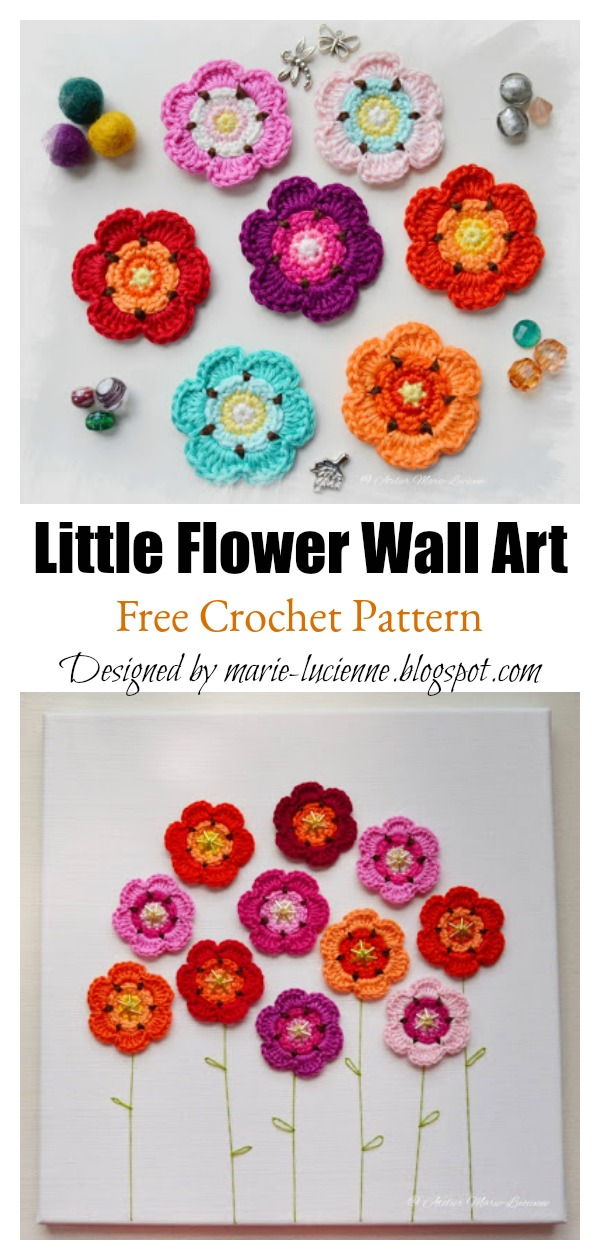 Little Flower 3D Wall Art Free Crochet Pattern