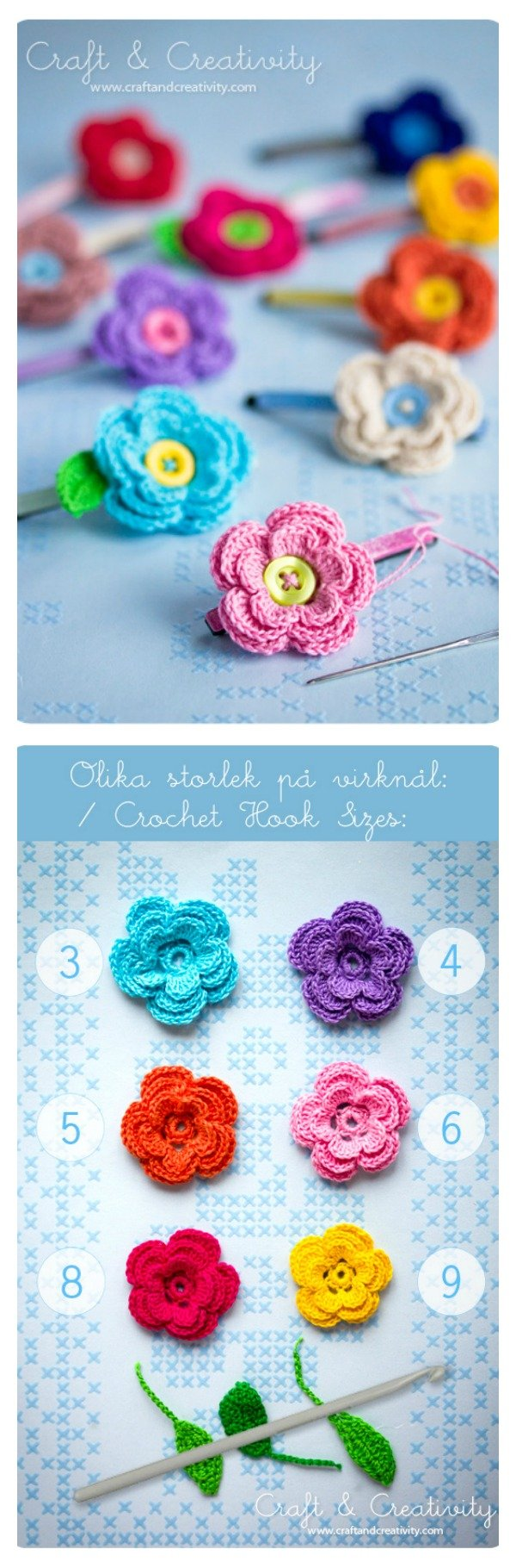Pretty Crochet Flowers Hair Clips