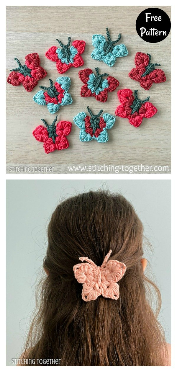 Uma Beautiful Butterfly Hair Clips Free Pattern