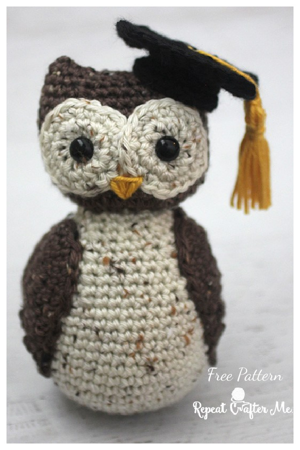Wise Old Owl with Graduation Cap Free Crochet Pattern