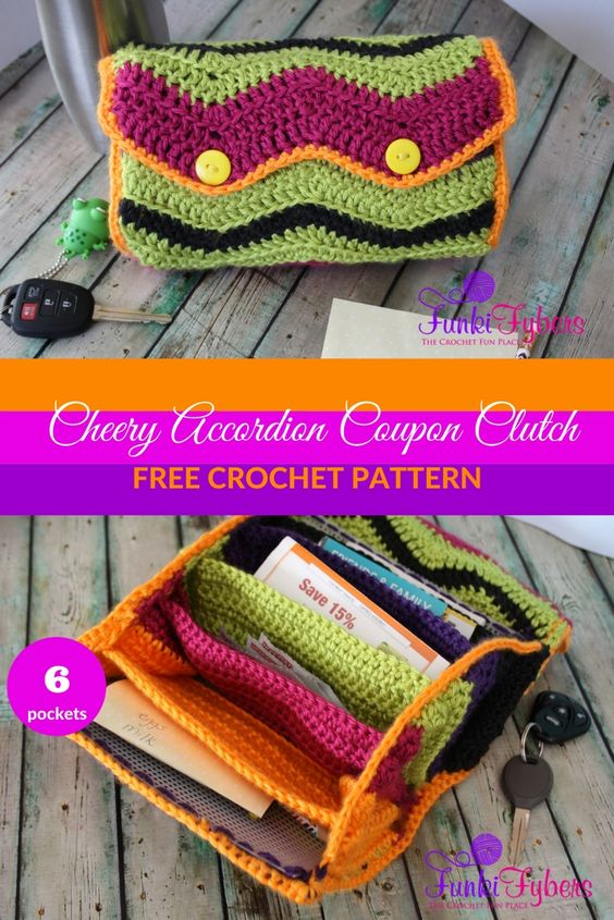 Crochet Bag With Pockets Pattern : Crochet Clutch Wallet Free Patterns