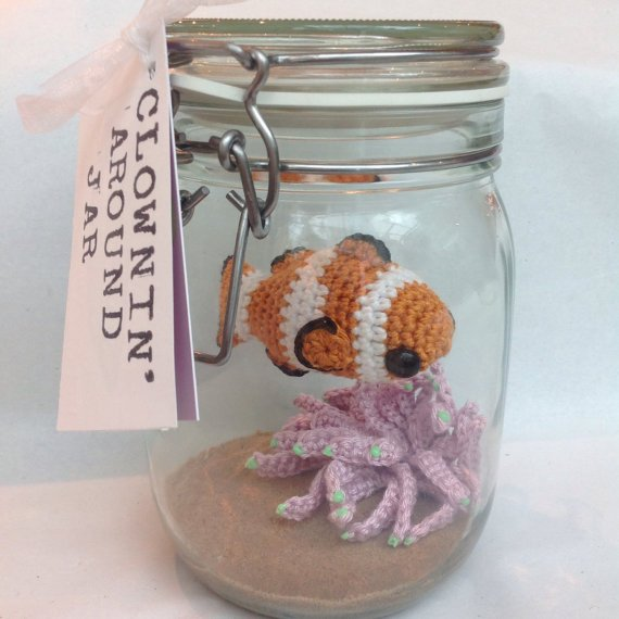 Crochet Adorable Little Clownfish Amigurumi in a Glass Jar