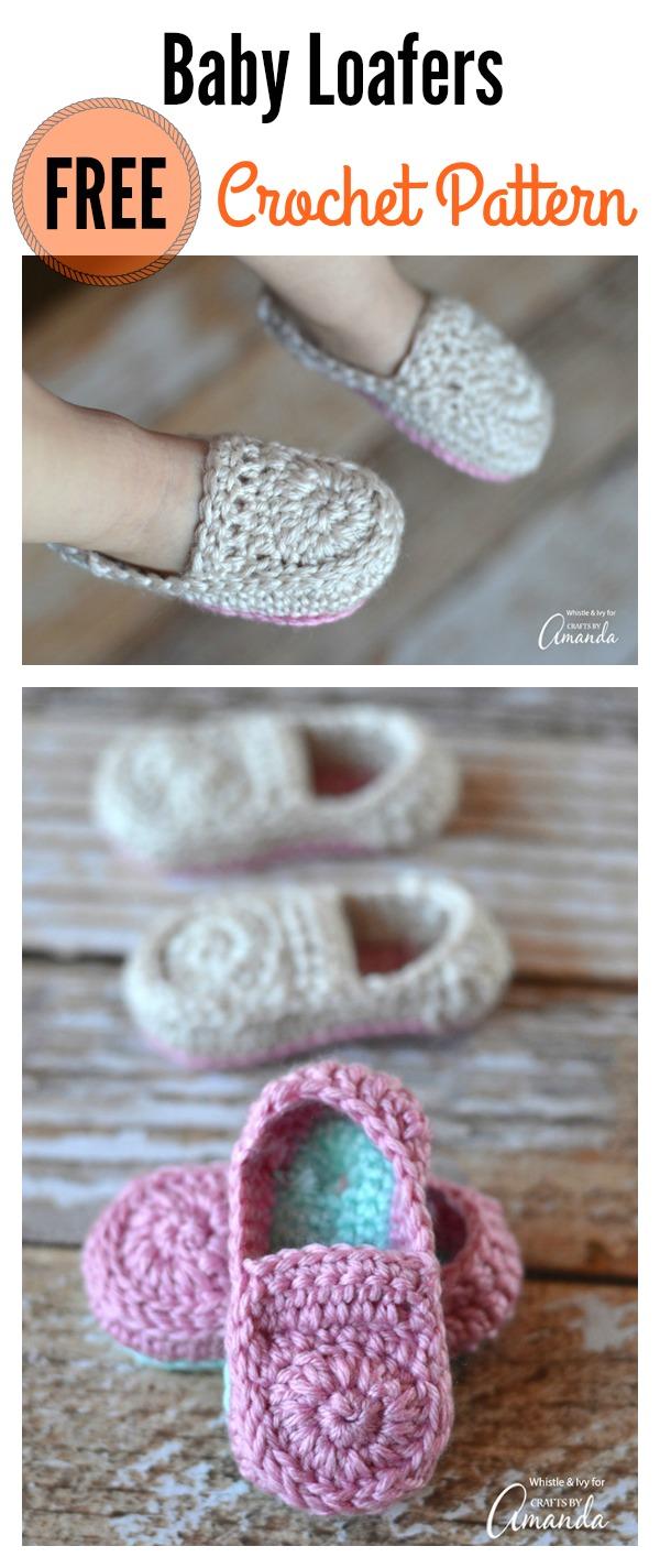 Cute Crochet Baby Loafers Free Pattern