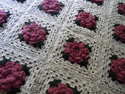 Crochet Rose Granny Square Afghan Free Pattern