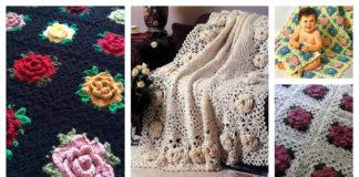 Crochet Rose Granny Square Afghan Free PatternsCrochet Rose Granny Square Afghan Free Patterns