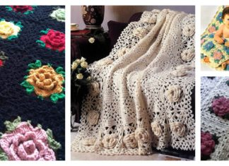 Crochet Rose Granny Square Afghan Free PatternsCrochet Rose Granny Square Afghan Free Patterns