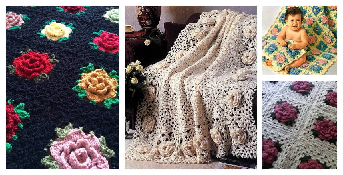 Crochet Rose Granny Square Afghan Free Patterns