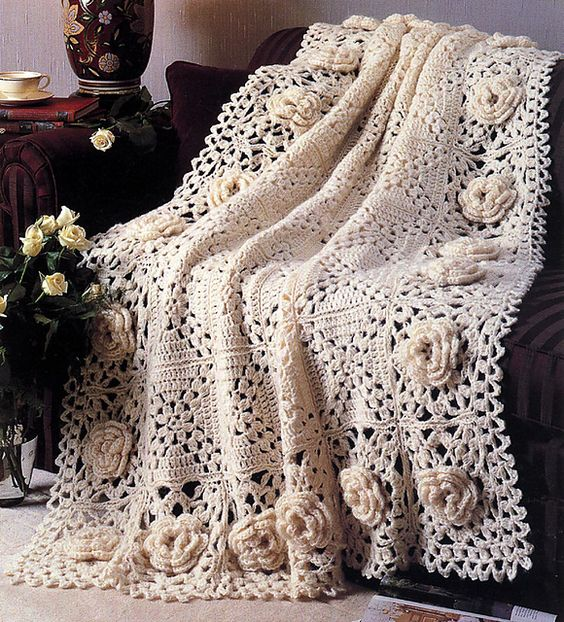 Free Roses Remembered Afghan Crochet Pattern Cool Creativities