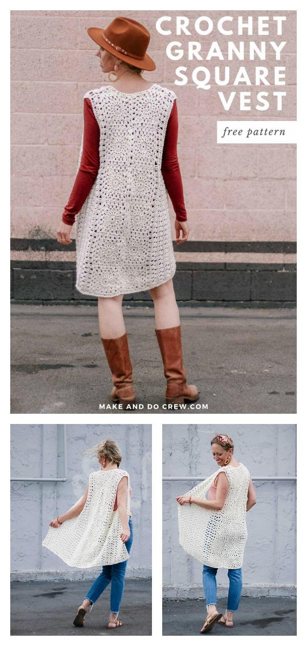Granny Square Long Vest Free Crochet Pattern
