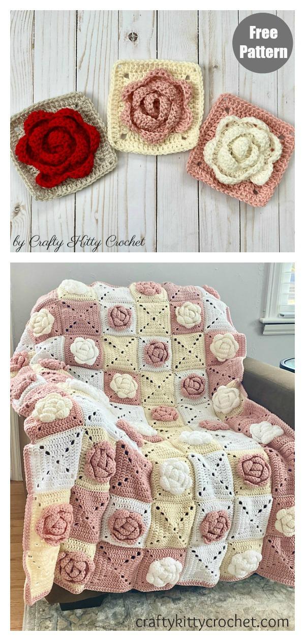Rose Granny Square Blanket Free Crochet Pattern