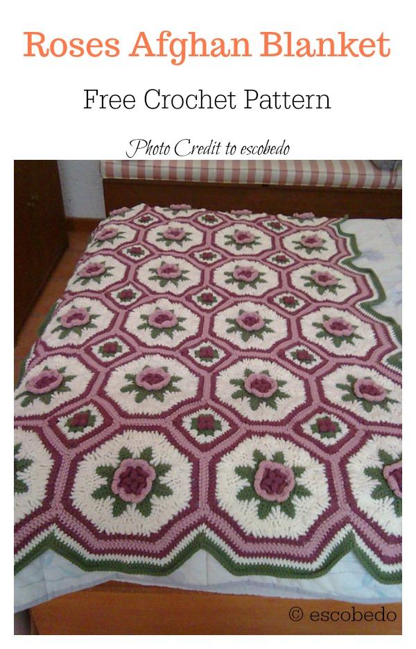 Roses Afghan Blanket Free Crochet Pattern