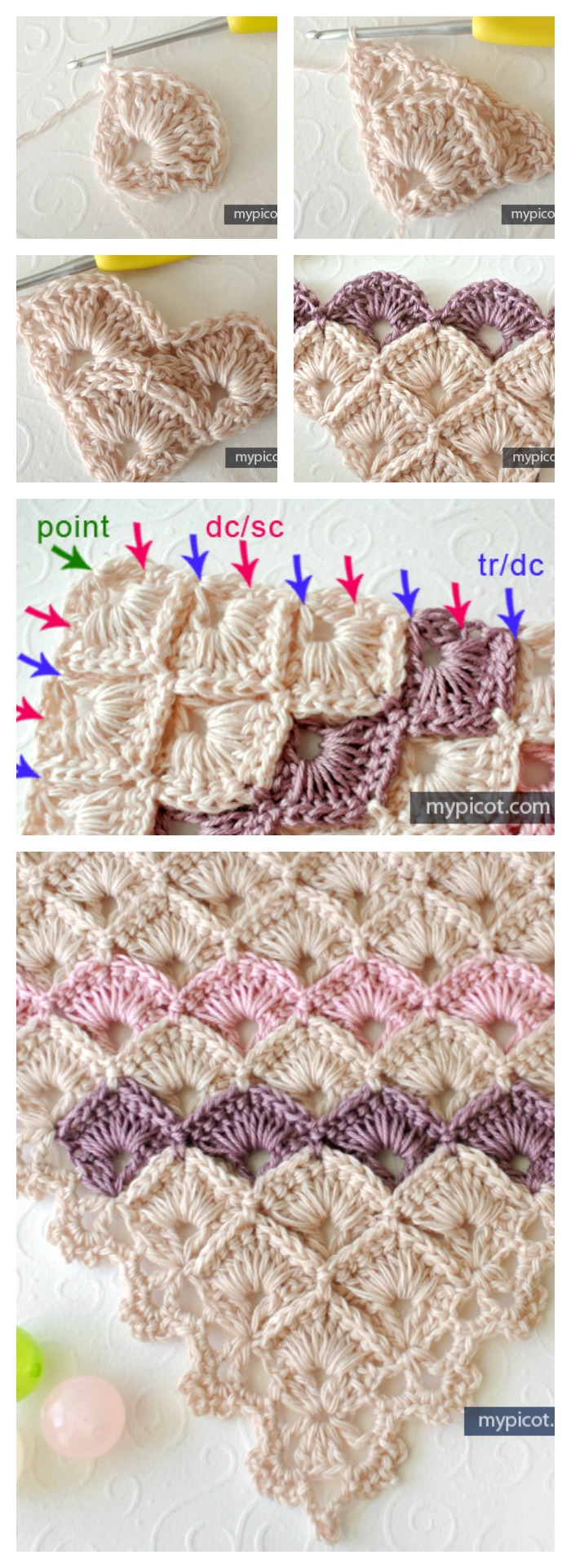Fabulous Triangle Shawl Box Stitch Crochet Free Pattern Patterns With Diagrams