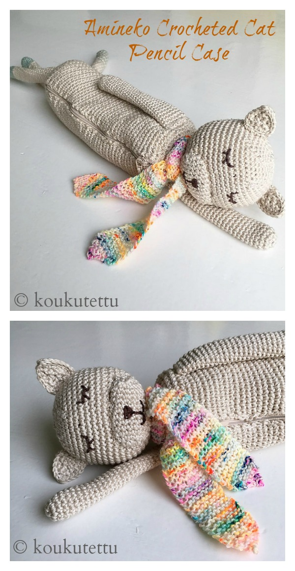 Amineko Crocheted Cat Pencil Case