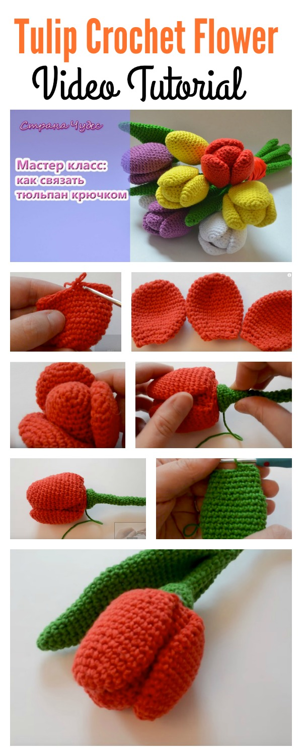 Beautiful Tulip Flower Crochet Video Tutorial