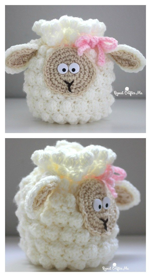 Crochet Sheep Drawstring Bag Free Pattern