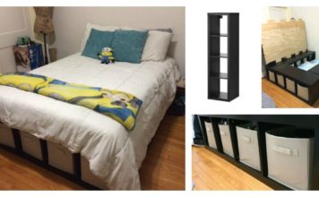 diy platform bed made from storage shelves