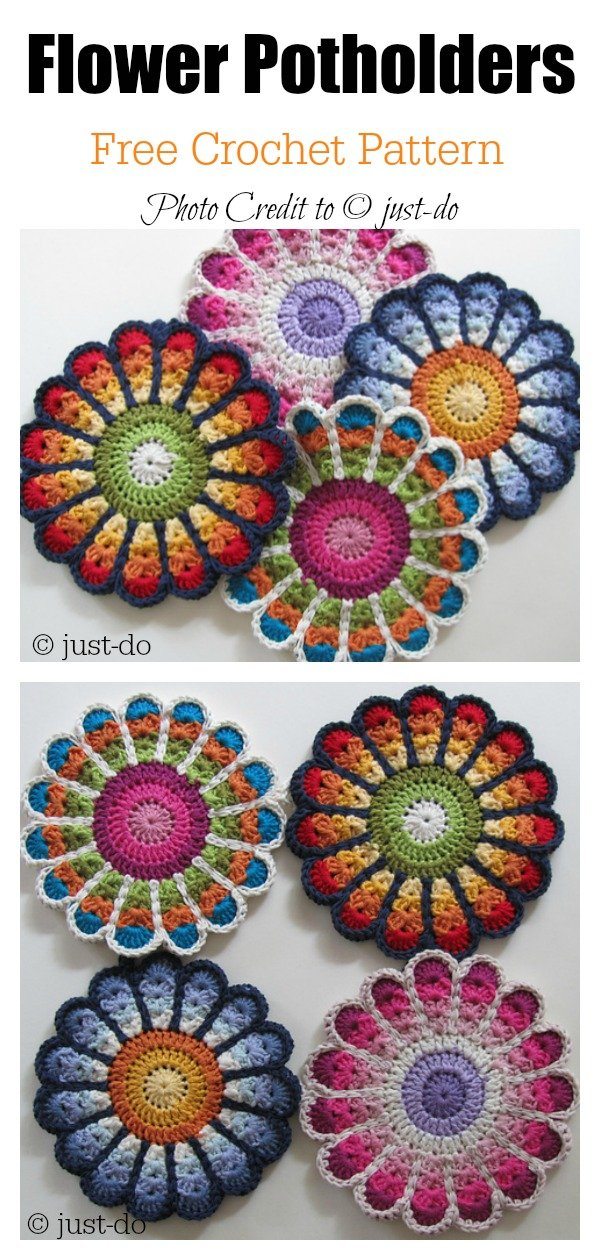 10 Colorful Crochet Flower Pot Holder With Free Pattern