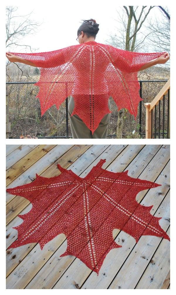Maple Leaf Crochet Shawl Crochet Pattern
