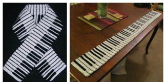 Piano Keyboard Crochet Knitting Scarf Free Pattern