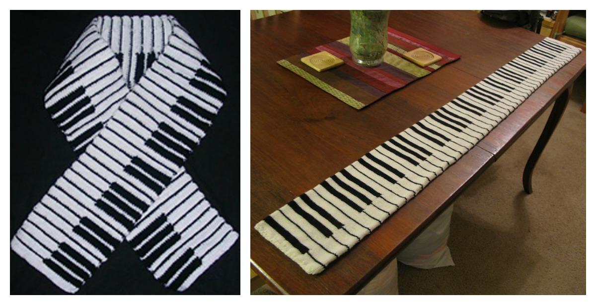 Piano Keyboard Crochet / Knitting Scarf Free Pattern