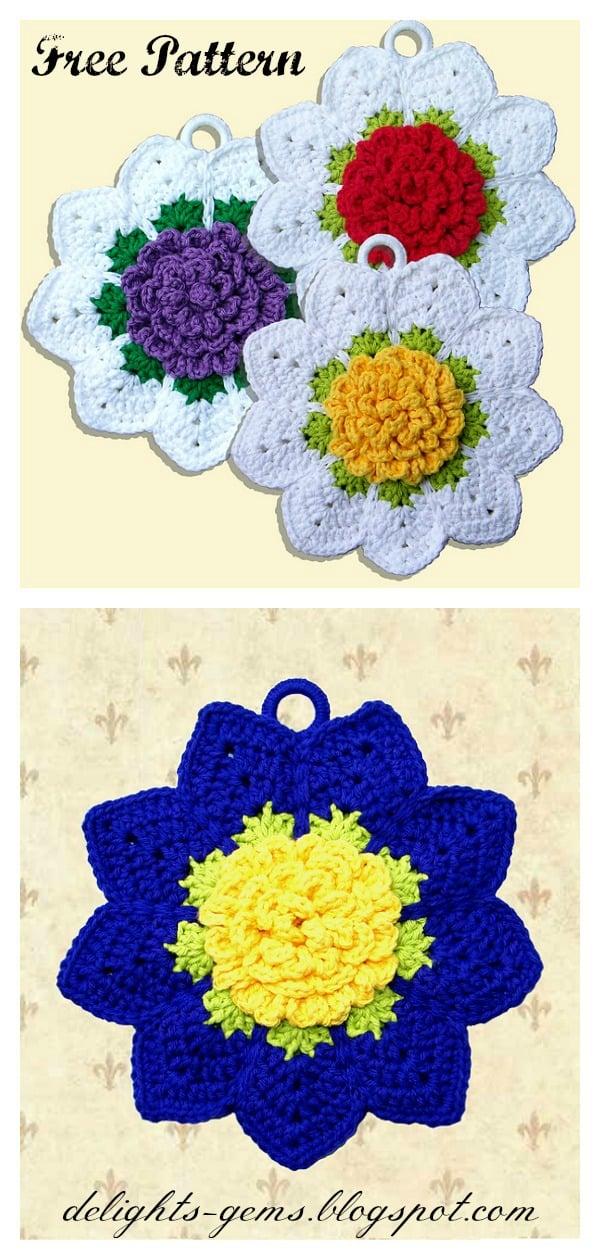 Rose Ripple Potholder FREE Crochet Pattern