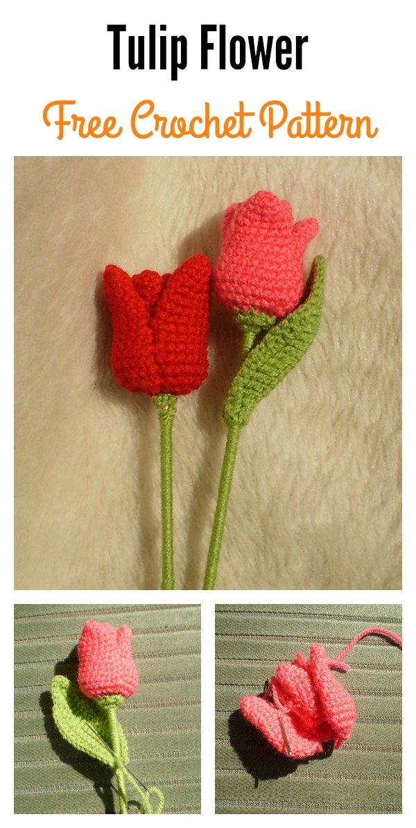 Tulip Flower Long Stem Free Crochet Pattern